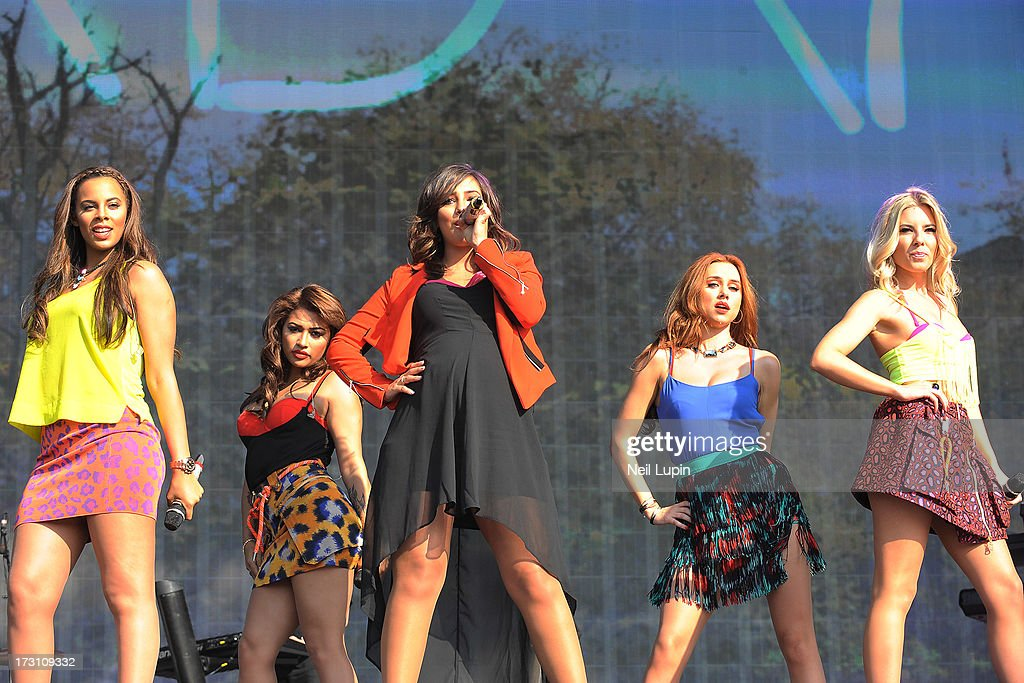Rochelle Humes, Vanessa White, Frankie Sandford, Una Healey and Mollie King of The Saturdays perform at day 3 of British Summer Time Hyde Park presented by Barclaycard at Hyde Park on July 7, 2013 in London, England.