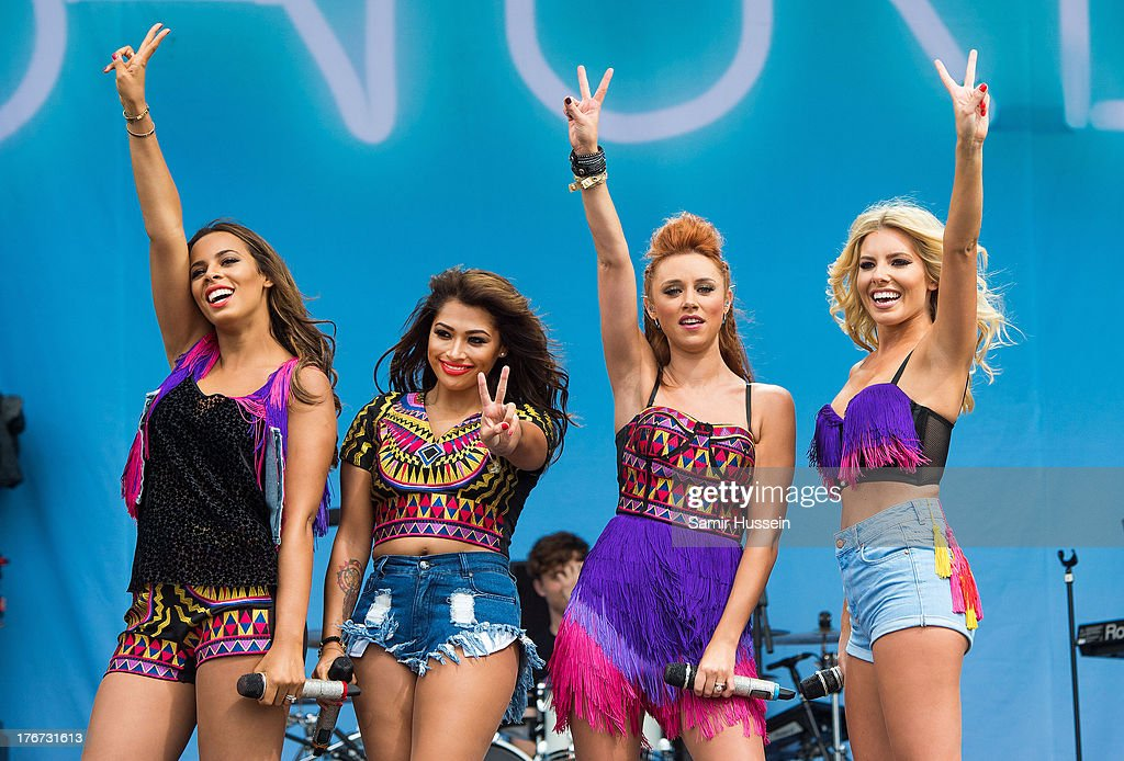 Rochelle Humes, <a gi-track='captionPersonalityLinkClicked' href=/galleries/search?phrase=Vanessa+White&family=editorial&specificpeople=5523036 ng-click='$event.stopPropagation()'>Vanessa White</a>, <a gi-track='captionPersonalityLinkClicked' href=/galleries/search?phrase=Una+Healy&family=editorial&specificpeople=5523039 ng-click='$event.stopPropagation()'>Una Healy</a> and <a gi-track='captionPersonalityLinkClicked' href=/galleries/search?phrase=Mollie+King&family=editorial&specificpeople=5522262 ng-click='$event.stopPropagation()'>Mollie King</a> of The Saturdays perform live on the Virgin Media Stage on day 2 of V Festival at Hylands Park on August 18, 2013 in Chelmsford, England.