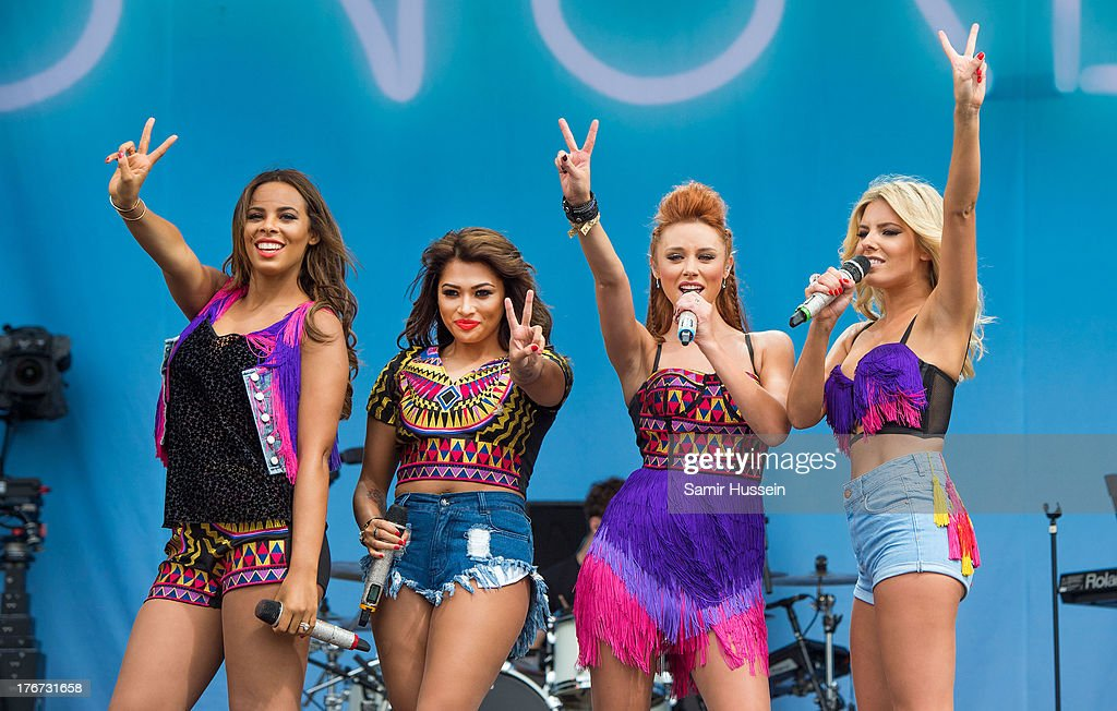 Rochelle Humes, Vanessa White, Una Healy and Mollie King of The Saturdays perform live on the Virgin Media Stage on day 2 of V Festival at Hylands Park on August 18, 2013 in Chelmsford, England.