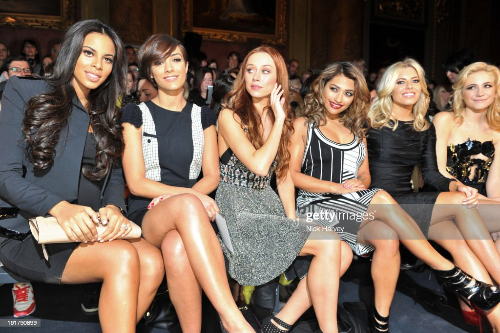 Rochelle Wiseman, Frankie Sandford, Una Healy, Vanessa White, Mollie King and Pixie Lott attend the Julien Macdonald show at Goldsmiths Hall on February 16, 2013 in London, England.