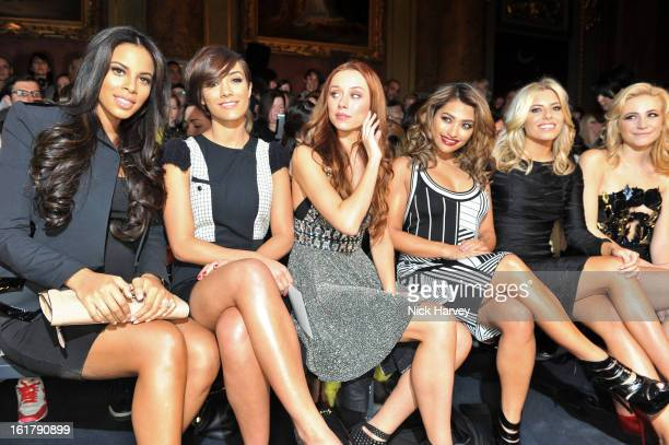 Rochelle Wiseman Frankie Sandford Una Healy Vanessa White Mollie King and Pixie Lott attend the Julien Macdonald show at Goldsmiths Hall on February...