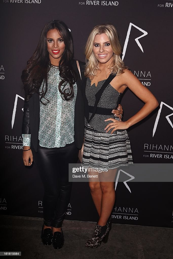 Rochelle Wiseman Humes and <a gi-track='captionPersonalityLinkClicked' href=/galleries/search?phrase=Mollie+King&family=editorial&specificpeople=5522262 ng-click='$event.stopPropagation()'>Mollie King</a> arrive for the Rihanna for River Island fashion show during London Fashion Week Fall/Winter 2013/2014 at the Old Sorting Office on February 16, 2013 in London, England.