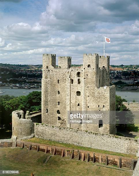 Rochester Castle Kent c2000s View of the castle keep from the top of Rochester Cathedral Artist Historic England Staff Photographer