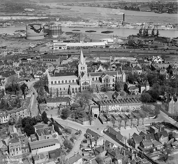 Rochester Cathedral and the River Medway Kent April 1947 Aerial photograph showing the gasworks and docks next to Limehouse Reach on the Medway...
