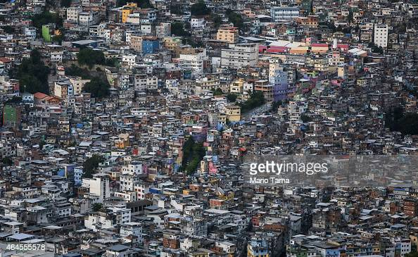 Rocinha 'favela' or community the largest 'favela in Rio stands in an aerial view on February 24 2015 in Rio de Janeiro Brazil Rio marks its 450th...