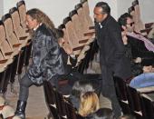 Rocio Carrasco and Fidel Albiac attend the funeral chapel for the flamenco guitarist Paco de Lucia at Auditorio Nacional on February 28 2014 in...