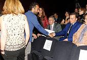 Rocio Carrasco Fidel Albiac and Jose Ortega Cano attend the presentation of the Rocio Jurado stamp in the 10th anniversary of her death at the Royal...