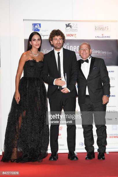 Rocio Munoz Morales Alessandro Siani and Pier Paolo Piastra pose with the award at the Kineo Diamanti Awards during the 74th Venice Film Festival at...