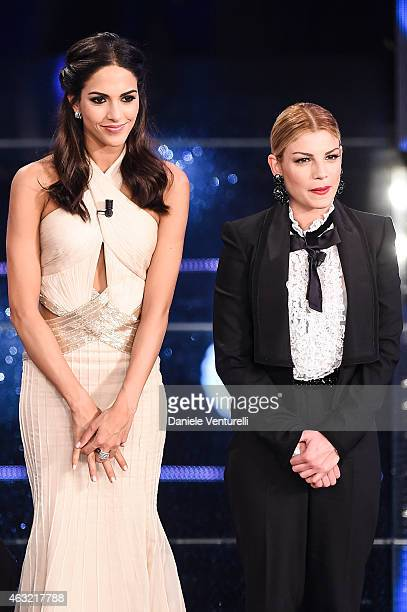 Rocio Munoz Morales and Emma Marrone attend second night 65th Festival di Sanremo 2015 at Teatro Ariston on February 11 2015 in Sanremo Italy