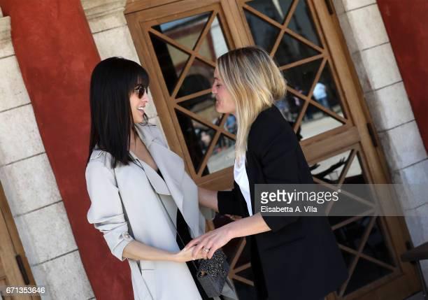 Rocio Munoz Morales and Olga Rossi are seen on the set for 'Tu Mi Nascondi Qualcosa' at Cinecitta Studios on April 10 2017 in Rome Italy