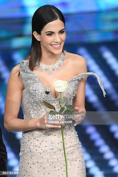 Rocio Munoz Morales attends the opening night of the 67th Sanremo Festival 2017 at Teatro Ariston on February 7 2017 in Sanremo Italy