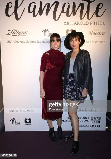 Rocio Pelaez and Veronica Echegui attend 'El Amante' press night at Pavon Kamikaze Theatre on March 16 2017 in Madrid Spain