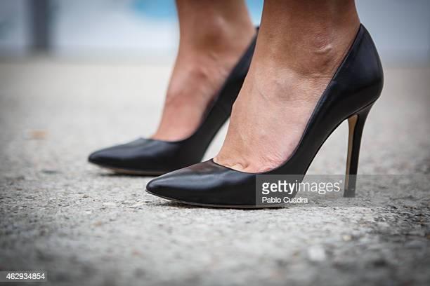 Rocio wears Coat and skirt vintage Ives Saint Laurent handbag Alexander Wong tshirt and Prada shoes during Mercedes Benz Madrid Fashion Week...