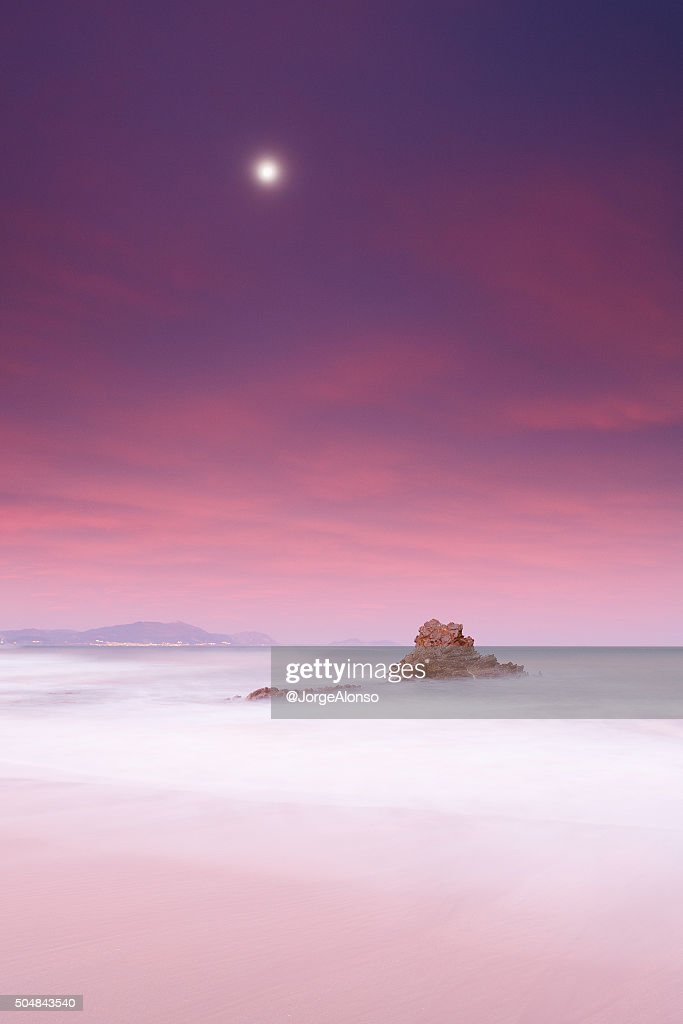Rock and moon : Stock Photo
