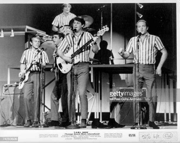 Rock and roll band 'The Beach Boys' perform at the TAMI Show on October 28 1964 at the Santa Monica Civic Auditorium in Santa Monica California Other...