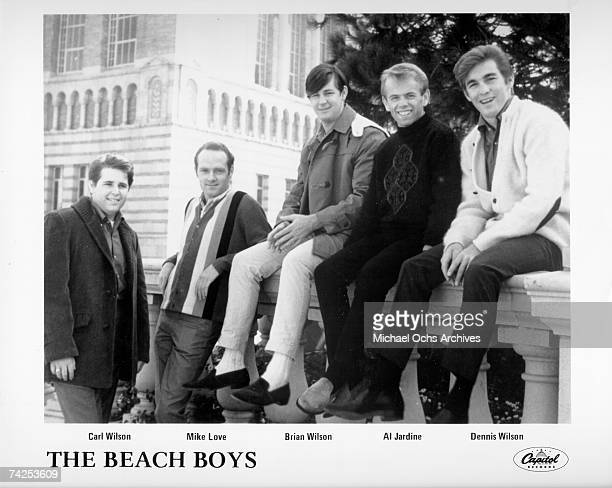 Rock and roll band 'The Beach Boys' pose for a portrait in 1963 Carl Wilson Mike Love Brian Wilson Al Jardine Dennis Wilson