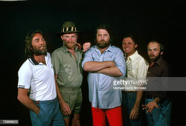 Rock and roll band 'The Beach Boys' pose for a portrait in circa 1981 Dennis Wilson Mike Love Brian Wilson Bruce Johnston Al Jardine