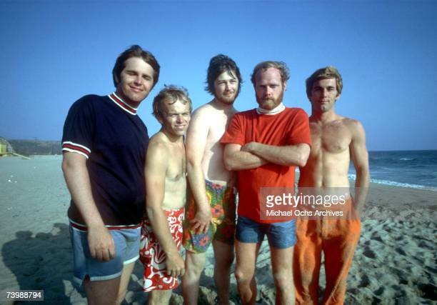 Rock and roll band 'The Beach Boys' pose for a portrait on the beach in July 1967 in Los Angeles California Carl Wilson Al Jardine Brian Wilson Mike...