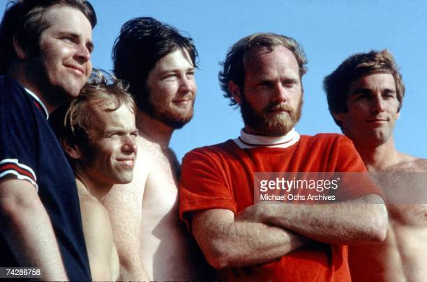 Rock and roll band 'The Beach Boys' pose for a portrait on the beach in July 1967 in Los Angeles California Brian Wilson Mike Love Carl Wilson Dennis...