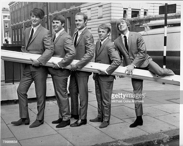 Rock and roll band 'The Beach Boys' poses for a portrait on November 2 1964 in London England Brian Wilson Carl Wilson Mike Love Al Jardine Dennis...