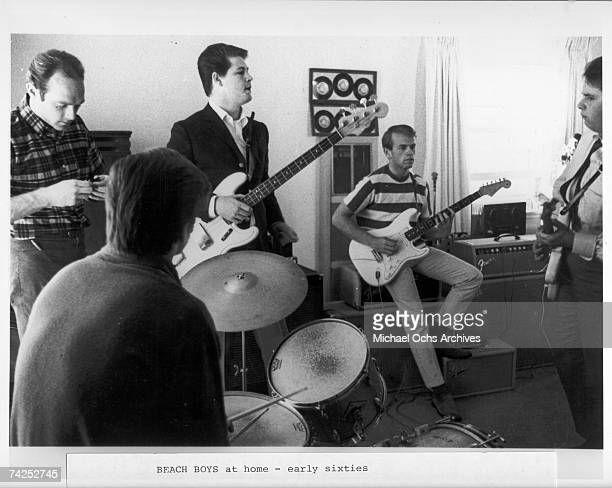 Rock and roll band 'The Beach Boys' rehearse at home in 1964 in Los Angeles California Mike Love Dennis Wilson Brian Wilson Al Jardine Carl Wilson