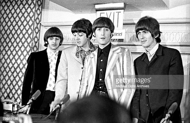 Rock and roll band 'The Beatles' answer questions regarding their Shea Stadium concert at a press conference on August 23 1965 in New York City New...