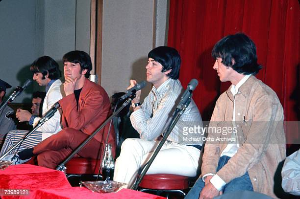 AUGUST 29 Rock and roll band 'The Beatles' hold a press conference for the release of their album 'Help' at the Capitol Records Tower on August 29...