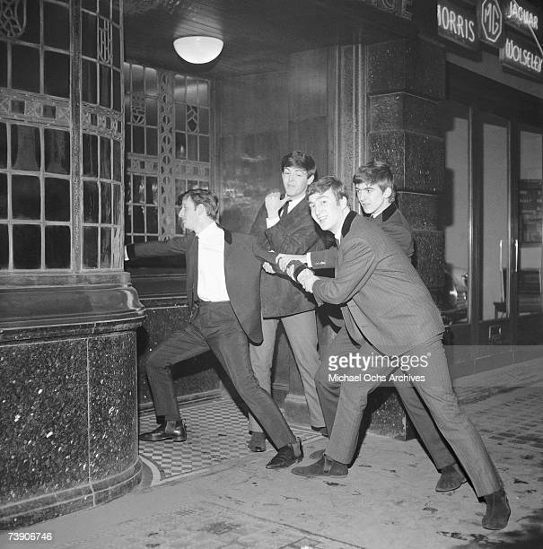 Rock and roll band 'The Beatles' in a still from their movie 'A Hard Day's Night' which was released on August 11 1964 Ringo Starr Paul McCartneyJohn...