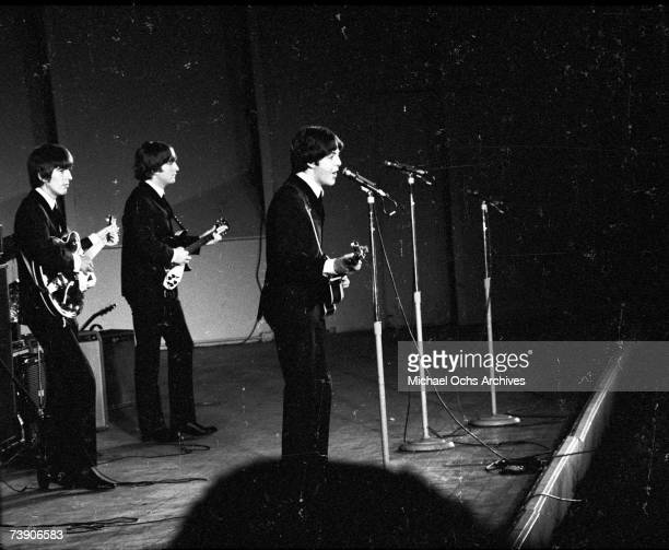 Rock and roll band 'The Beatles' perform at the Hollywood Bowl on August 23 1964 in Los Angeles California