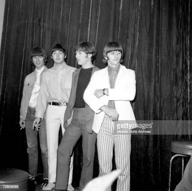 Rock and roll band 'The Beatles' pose for a portrait at their press conference before their second to last live performance at Dodger Stadium on...