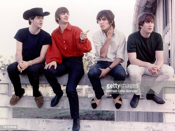 Rock and roll band 'The Beatles' pose for a portrait on the set of their movie 'Help' which was released on August 25 1965 Paul McCartney Ringo Starr...