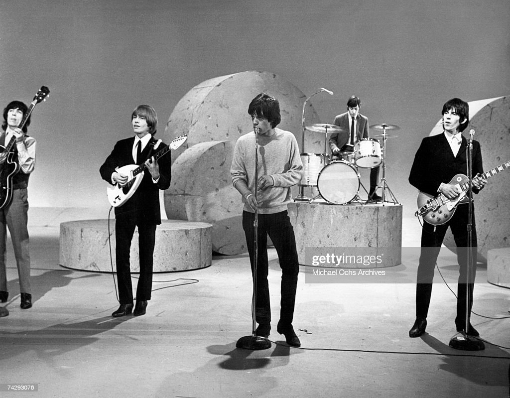 Rock and roll band 'The Rolling Stones' perform on the Ed Sullivan Show on October 25, 1964 in New York City, New York. (L-R) Bill Wyman, Brian Jones, Mick Jagger, Charlie Watts, Keith Richards.