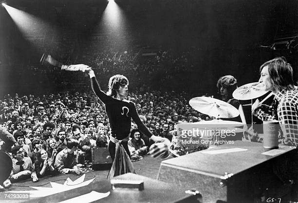 Rock and roll band 'The Rolling Stones' perform onstage at Madison Square Garden in a concert that was recorded and later released as the live album...
