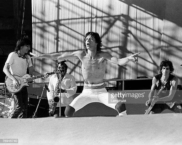 Rock and roll band 'The Rolling Stones' perform onstage at Candlestick Park on October 17 1981 in San Francisco CA Ron Wood Mick Jagger Keith Richards