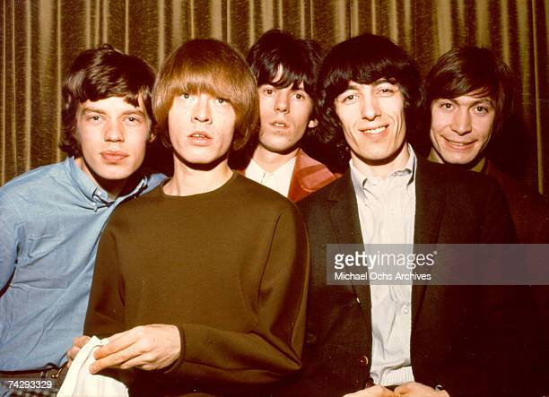 Rock and roll band 'The Rolling Stones' pose for a portrait in 1964 Mick Jagger Brian Jones Keith Richards Bill Wyman Charlie Watts