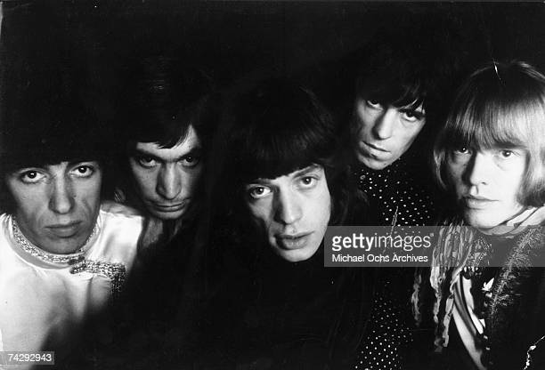Rock and roll band 'The Rolling Stones' pose for a portrait in 1965 Bill Wyman Charlie Watts Mick Jagger Keith Richards Brian Jones