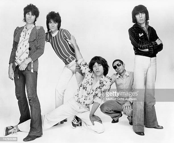 Rock and roll band 'The Rolling Stones' poses for a portrait in July 1976 Charlie Watts Keith Richards Ron Wood Bill Wyman Mick Jagger