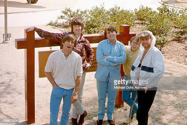 Rock and roll group 'The Beach Boys' pose during a portrait session in 1965 in Los Angeles California Dennis Wilson Brian Wilson Carl Wilson Al...