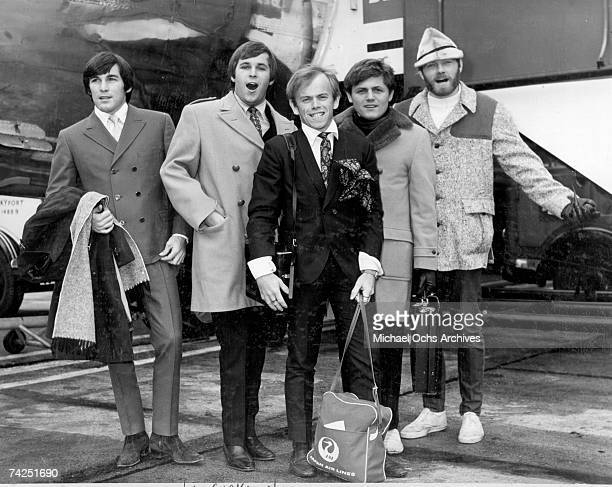 Rock and roll group 'The Beach Boys' pose for a portrait as they arrive at London Airport on November 6 1966 in London England Dennis Wilson Carl...