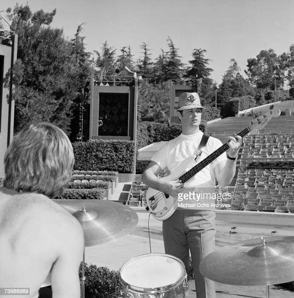 Rock and roll group 'The Beach Boys' rehearse onstage for their show at the Hollywood Bowl on July 3 1965 in Los Angeles California Dennis Wilson...
