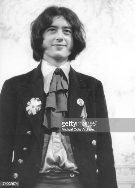 Rock and roll guitarist Jimmy Page of the rock band 'The Yardbirds' poses for a portrait in 1967