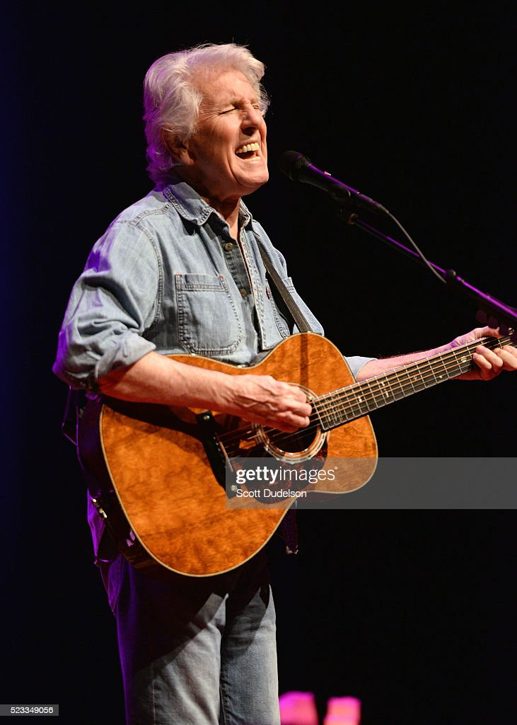 Rock and Roll Hall of Fame member Graham Nash of The Hollies and CSNY performs onstage at Saban Theatre on April 22, 2016 in Beverly Hills, California.