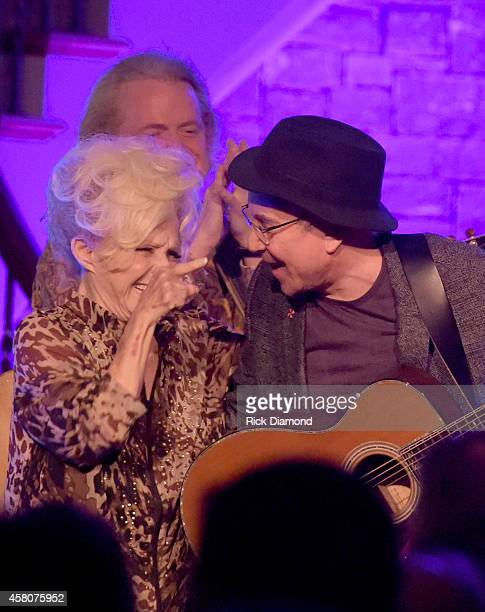 Rock and Roll Hall of Fame members Brenda Lee joins Paul Simon during A Tribute to Phil Everly to benifit COPD at the home of Sylvia Roberts on...