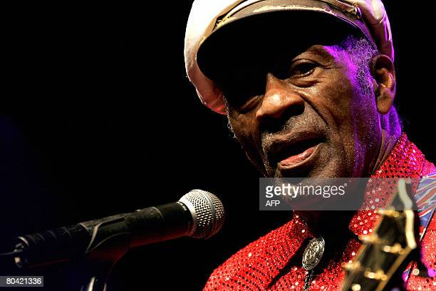US Rock and Roll legend Chuck Berry performs in a concert held in Santa Cruz de Tenerife on March 28 2008 Chuck Berry singer songwriter and guitarist...