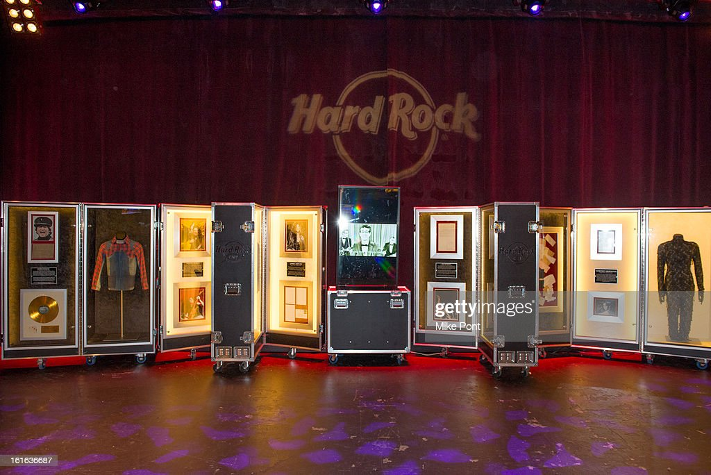 Rock and Roll Memorabilia on display at Hard Rock's 'Gone Too Soon' and 'Music Gives Back' Media Preview Day at Hard Rock Cafe New York on February 13, 2013 in New York City.