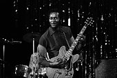 Rock and Roll musician and songwriter Chuck Berry performs in November 1972 at Hofstra University in New York City New York