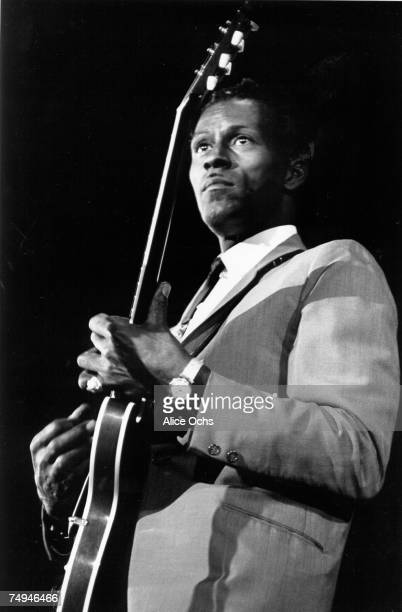 Rock and roll musician Chuck Berry performs onstage in the East Village in 1966 in New York City New York