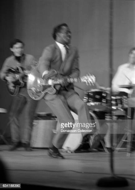 Rock and roll musician Chuck Berry performs onstage with a Gibson electric guitar in the East Village in 1966 in New York City New York