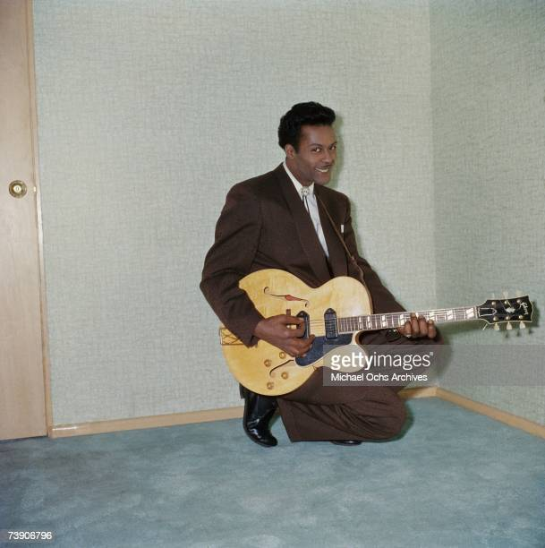 Rock and roll musician Chuck Berry poses for a portait at Leonard Chess's home in circa 1958 in Chicago Illinois