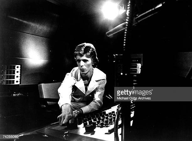 Rock and roll musician David Bowie works in the studio during the recording of his Diamond Dogs album which was recorded between October 1973 and...